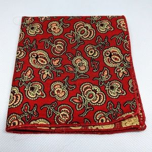 Vintage Cotton Pocket Square in Maroon and Gold